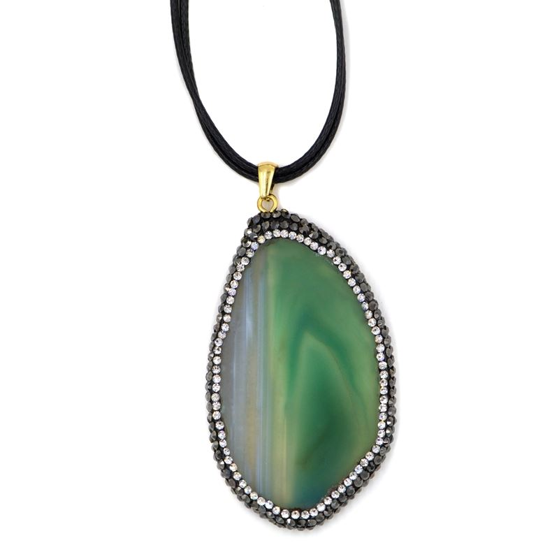 Green Slice Agate Necklace on leather Cord with Cr