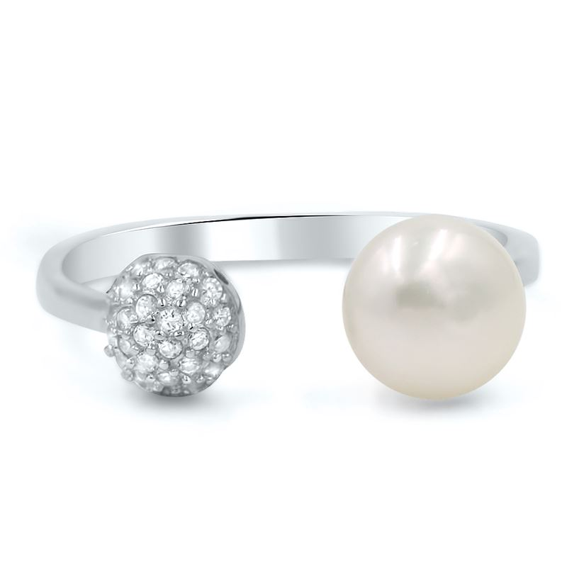 Pearl and CZ modern Silver Fashion Ring