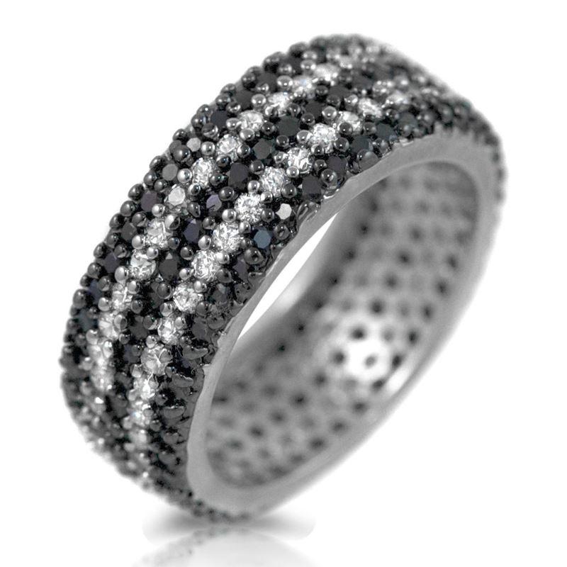 Black White CZ 925 Sterling Silver Wide Eternity B