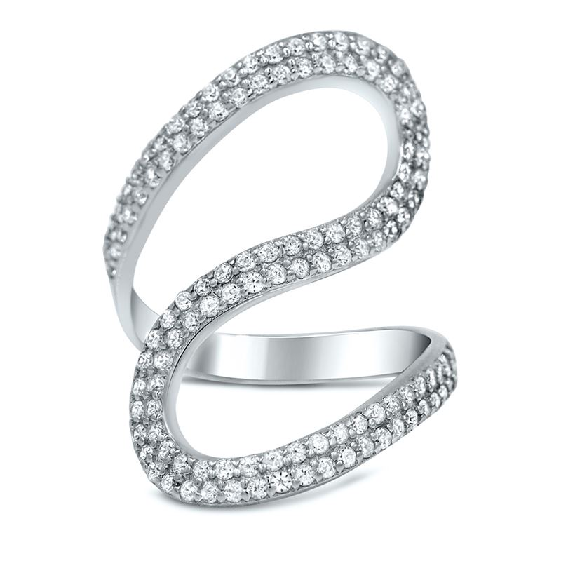 Sterling Silver Pave  CZ Wave  Cocktail