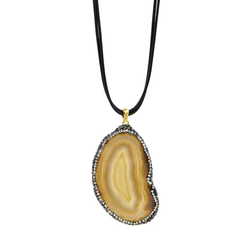 Natural Brown Agate Necklace on Black Cord with Cr