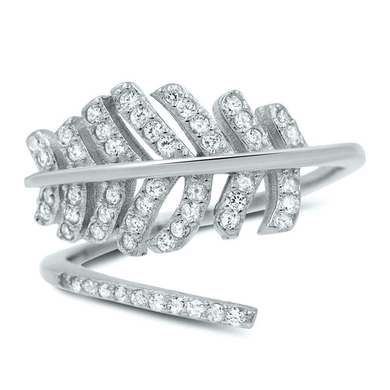 Pave Feather Cubic Zirconia Ring in Sterling Silve