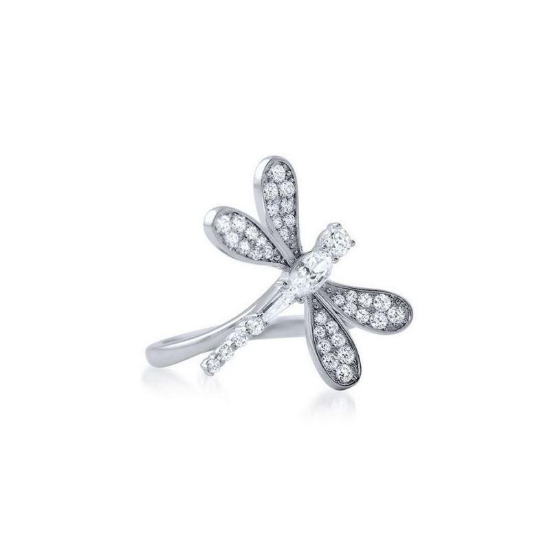 Sterling Silver Pave Set Dragonfly CZ Women