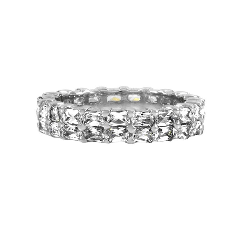 Baguette Eternity CZ Sterling Silver Band 2 Row St