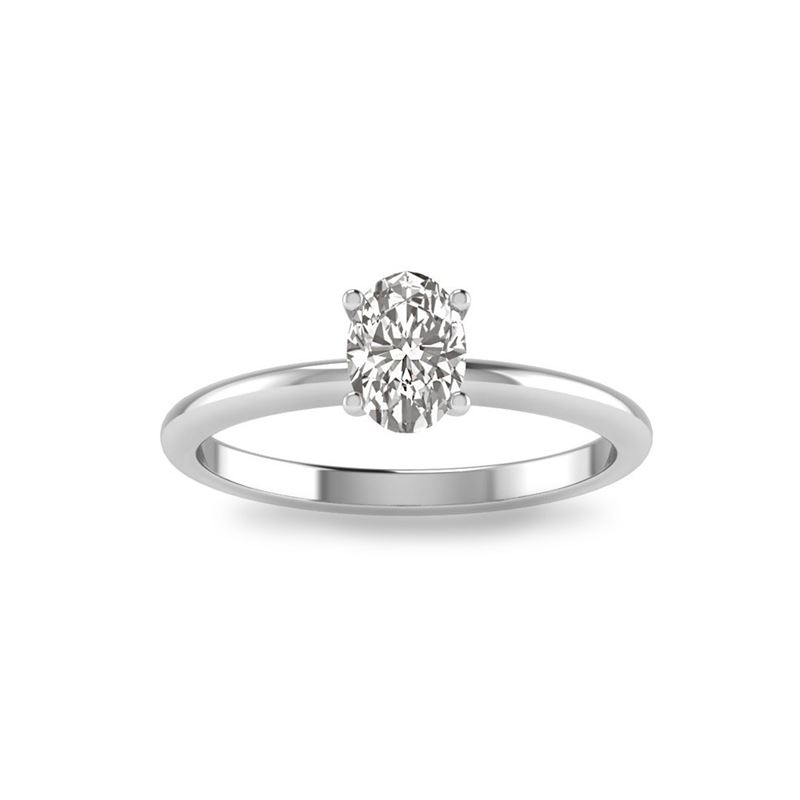 Oval Cut CZ Sterling Silver Solitaire White Cubic
