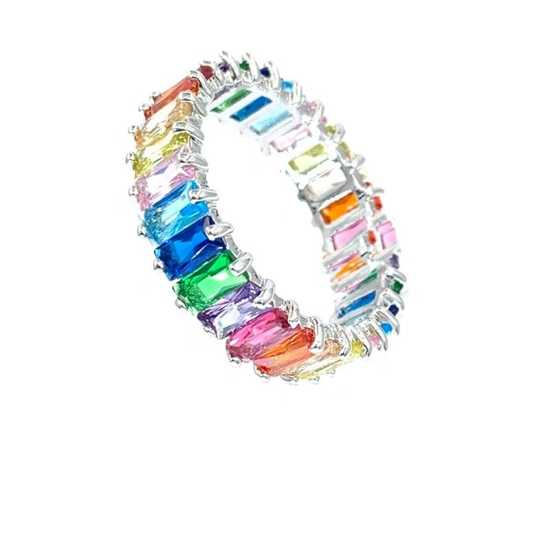 Multicolor CZ Rainbow Eternity Ring Stack Ombre Ba