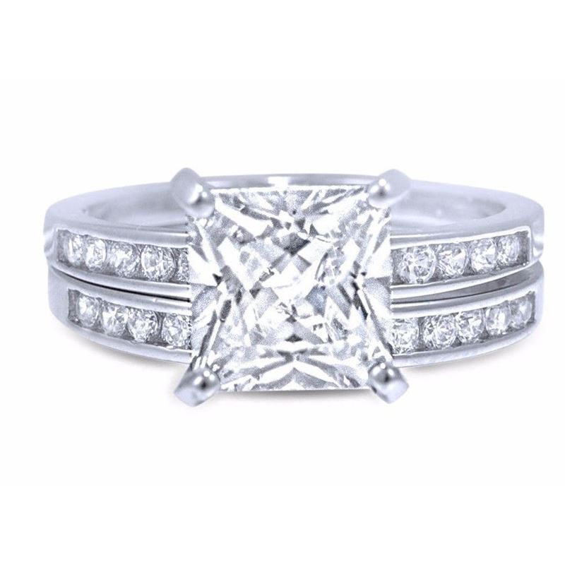 Princes Cut CZ Sterling Silver 2-Pc Ring Set Clear