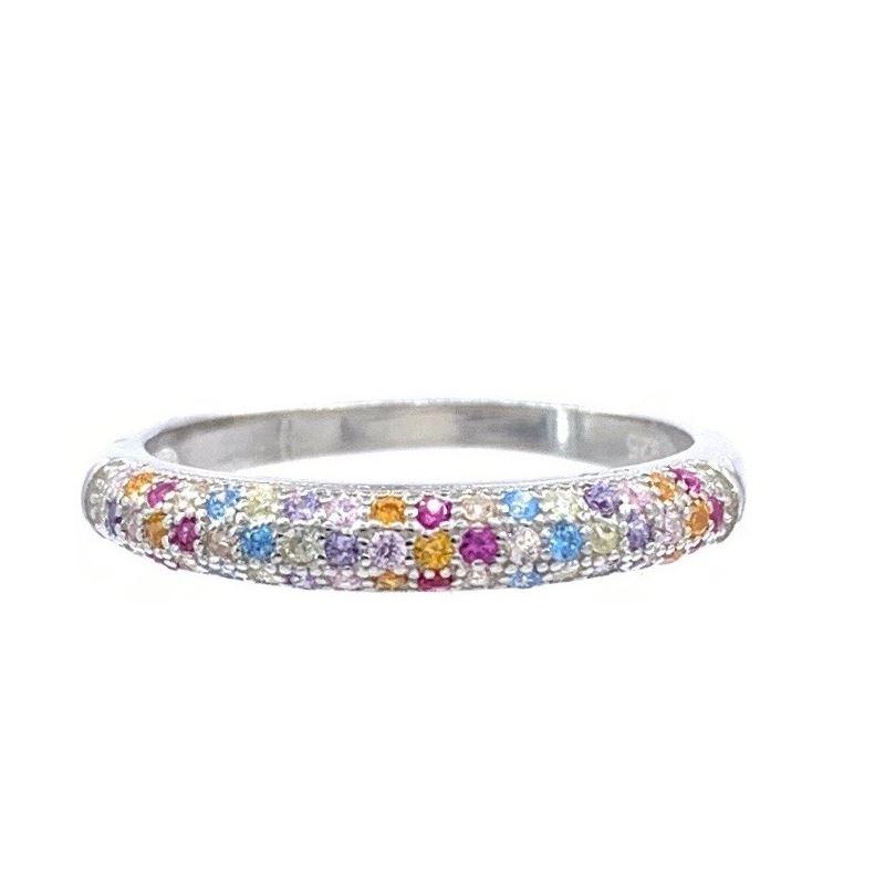 Half Eternity Rainbow Silver CZ Ring Multicolor CZ