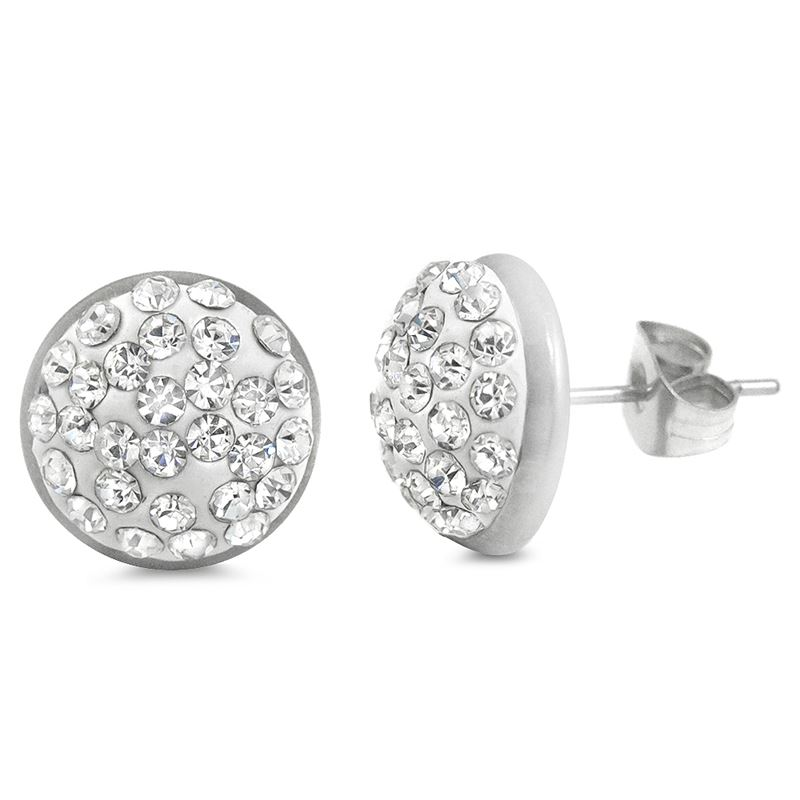 Round Pave Crystal Stainless Steel Button Post Stu