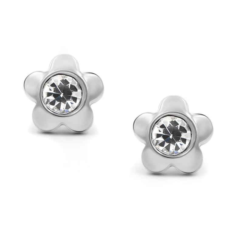 316L Surgical Stainless Steel Flower Cubic Zirconi