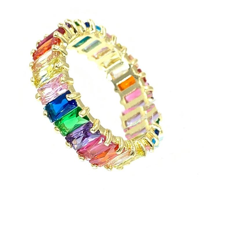 Gold Rainbow Multicolor Eternity Ring