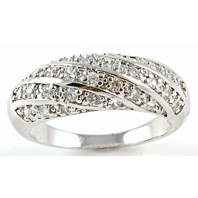 Micro Pave Woven CZ Band 925 Sterling Silver Anniv