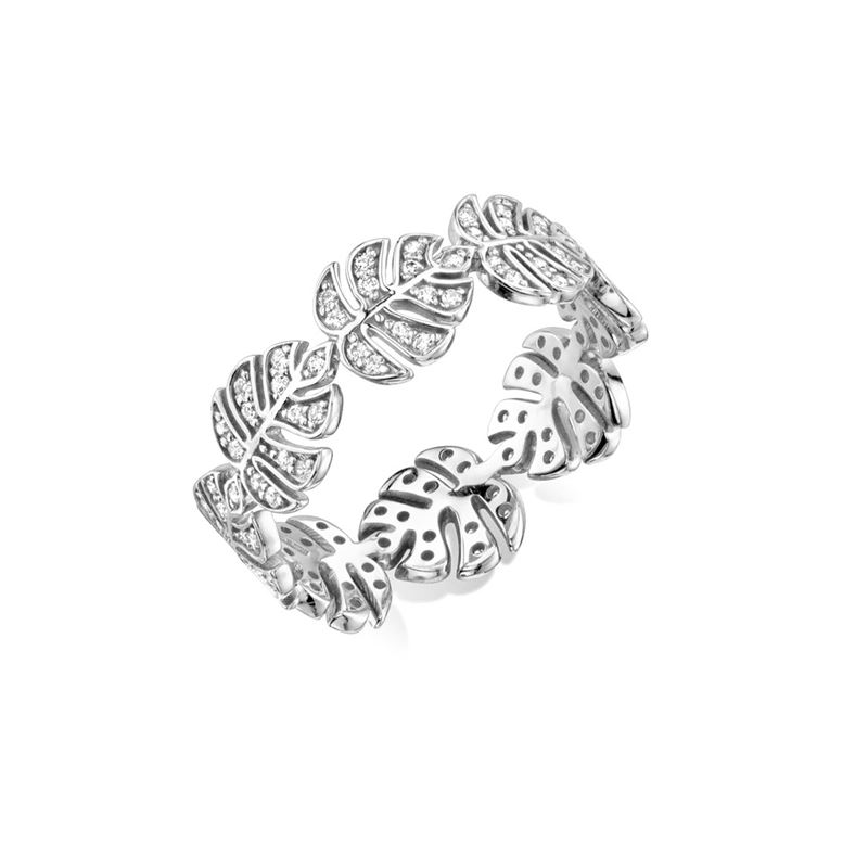 Monstera Leaf Sterling Silver CZ Ring Palm Leaf