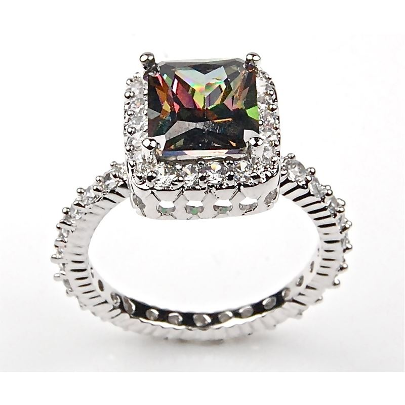 Sterling Silver Emerald Cut Fire Mystic Topaz and