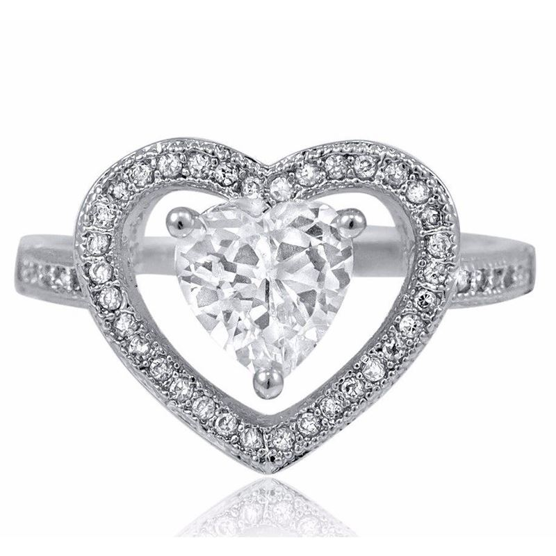 Sterling Silver Halo Set Heart Cut CZ Engagement W
