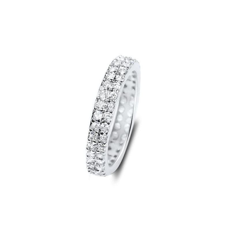 925 Silver 2 Row CZ Eternity Wedding Band Micro Pa