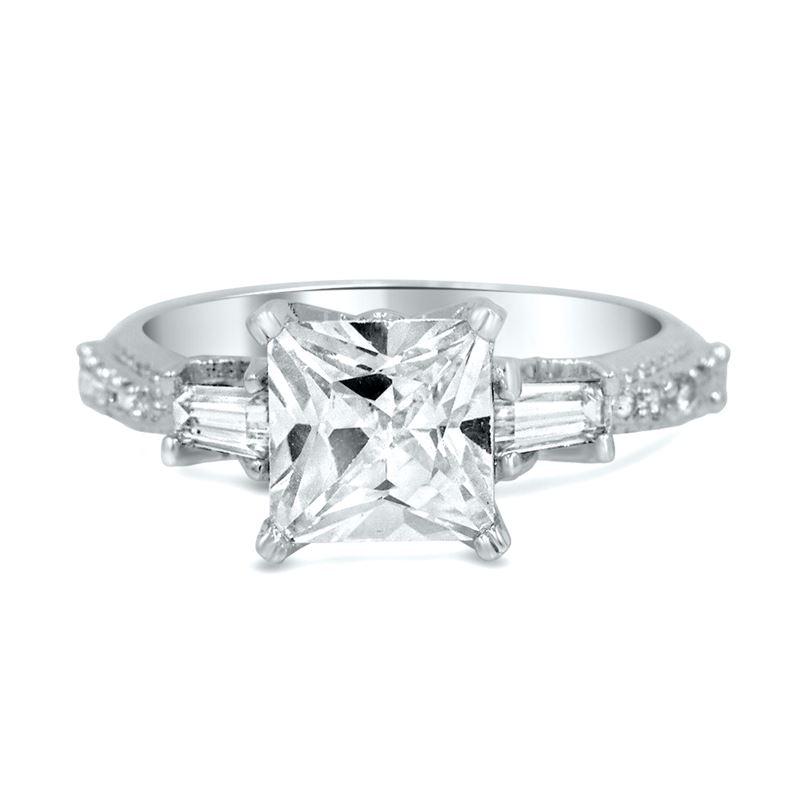 vitntage three stone princess silver ring