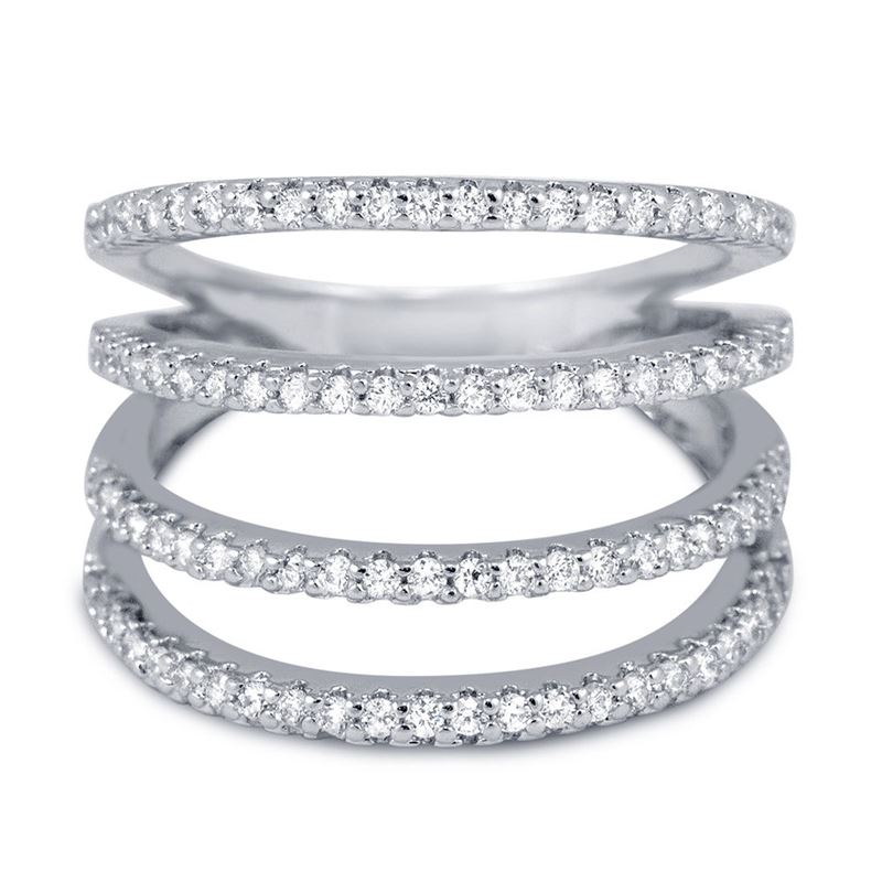 Mult-Row Knuckle CZ Ring in Sterling Silver Micro