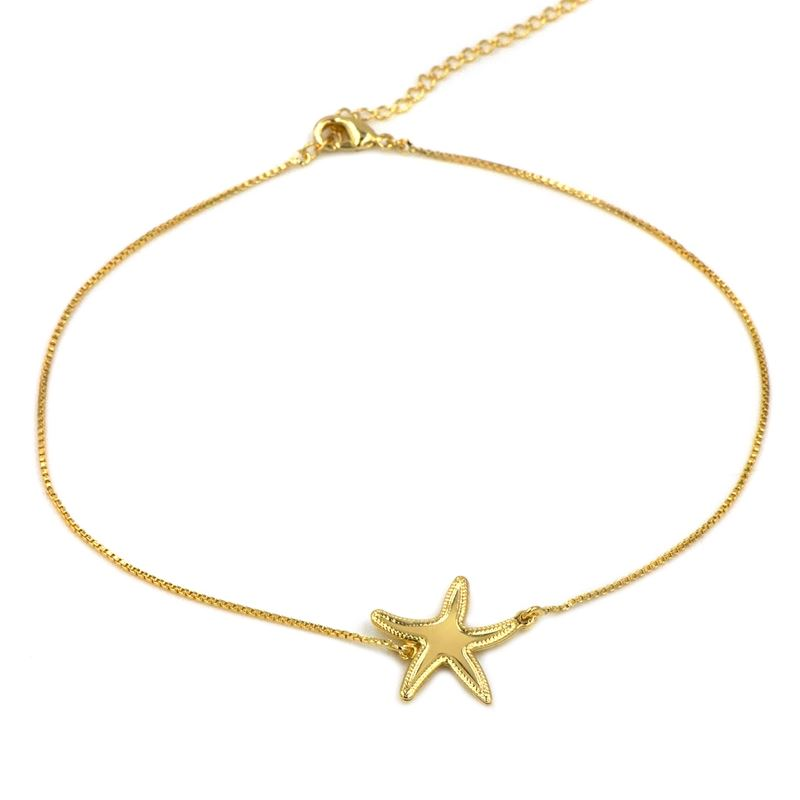 Beach Necklace starfish in Gold filled
