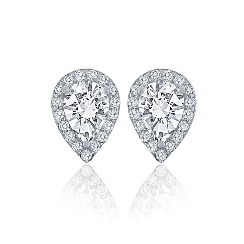 Halo Pear Cut CZ Silver Stud Earrings