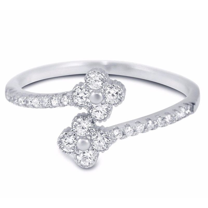 Clover Sterling Silver CZ Midi Ring Thin Stackabl
