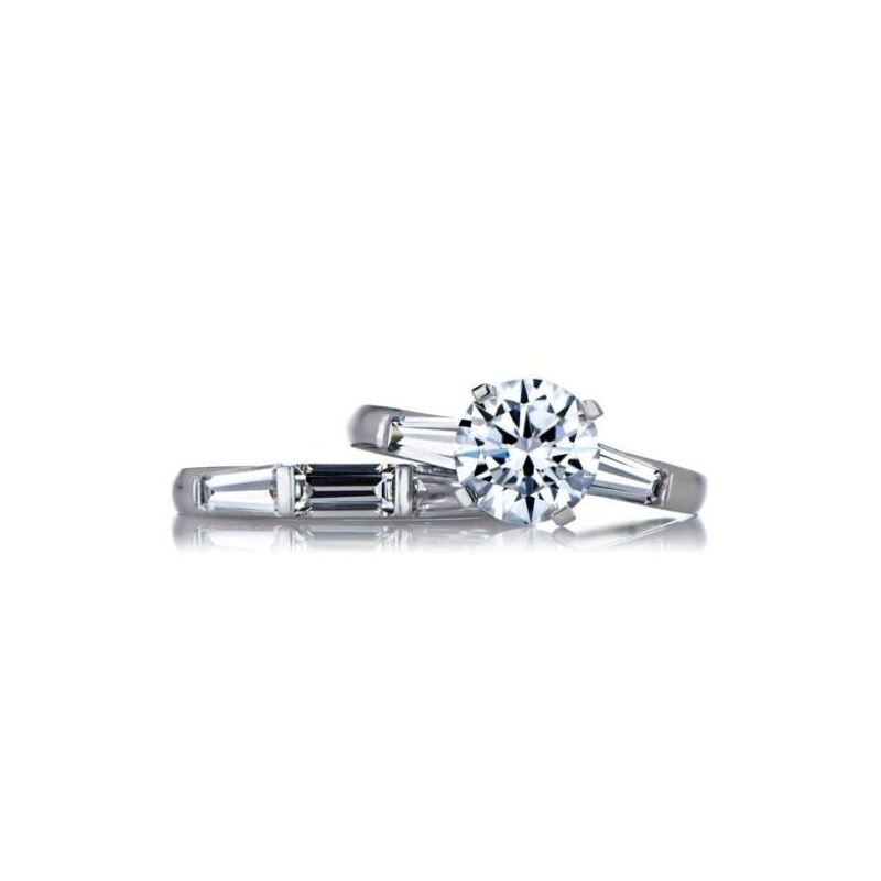 Round Baguette CZ Wedding Ring Set Sterling Si