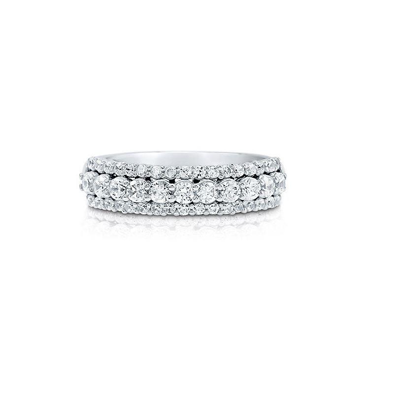 half eternity cubic zirconia silver wedding  band