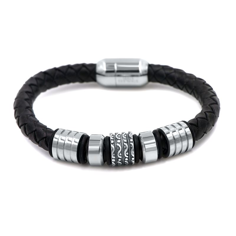 black leather men bracelet with stainless steel ac
