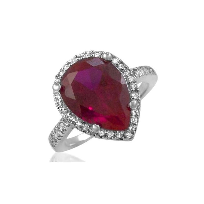 Pear Shaped Red Ruby CZ Sterling Silver Ring Pave